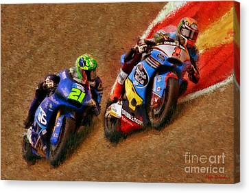 moto2 Tito Rabat Leads Franco Morbidelli Canvas Print