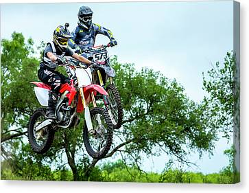 Canvas Print featuring the photograph Motocross Battle by David Morefield
