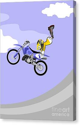 Competition Canvas Print - Motocross Rider Dressed In Yellow And White Jumping High Over The Sky With Clouds Performing A Dange by Daniel Ghioldi