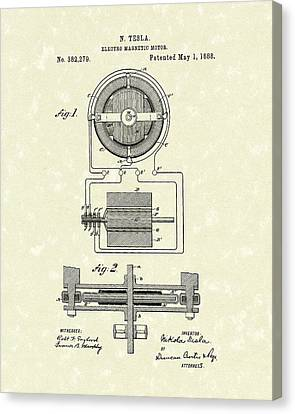 Motor 1888 Patent Art Canvas Print by Prior Art Design