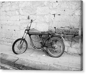 Motor Bike With Flat Tire Canvas Print