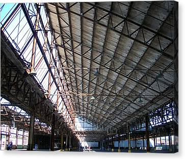 Ford Plant Canvas Print - Motor Plant Ceiling And Skylights by Edmund Akers