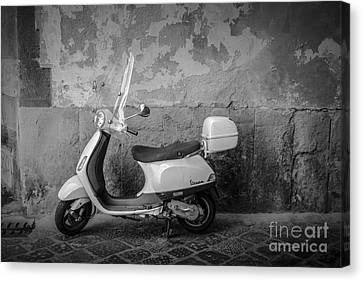 Old Wall Canvas Print - Motor Scooter In Italy by Edward Fielding