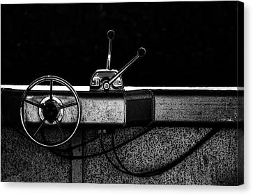 Skiff Canvas Print - Motorboat Black And White by Carol Leigh