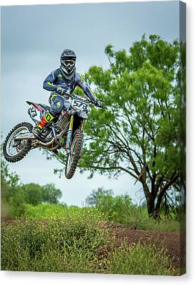 Canvas Print featuring the photograph Motocross Aerial by David Morefield