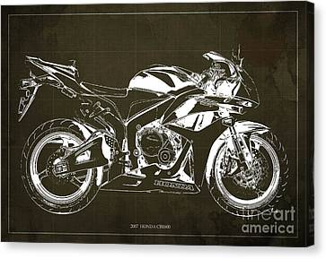 Motorcycle Blueprint Honda Cbr600 Gift For Him Gift For Her Canvas Print by Pablo Franchi