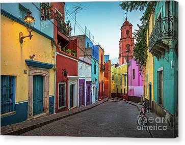 Motorcycle In Guanajuato Canvas Print by Inge Johnsson