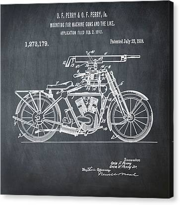Motorcycle Machine Gun Patent 1918 In Chalk Canvas Print by Bill Cannon