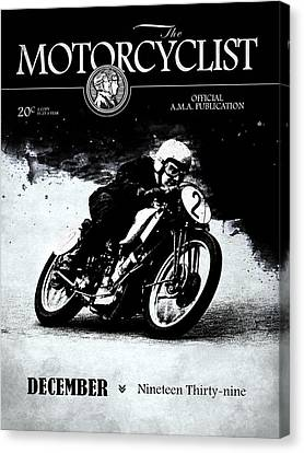Motorcycle Magazine Racer Number Two 1939 Canvas Print