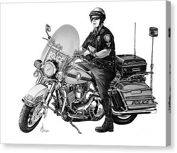 Motorcycle Police Officer Canvas Print by Murphy Elliott