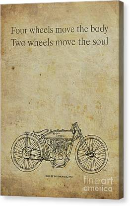 Motorcycle Quote. Four Wheels Move The Body, Two Wheels Move The Soul Canvas Print by Pablo Franchi