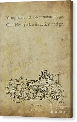 Motorcycle Quote. Young Riders Pick A Destination... Gift For Bikers Canvas Print by Pablo Franchi