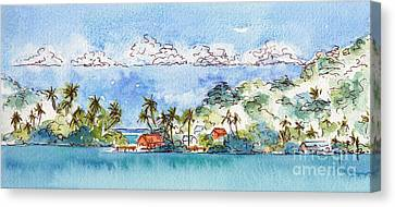 Sea And Sky Canvas Print - Motu Toopua Bora Bora by Pat Katz