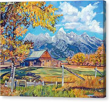 Moulton's Barn Grand Tetons Canvas Print by David Lloyd Glover
