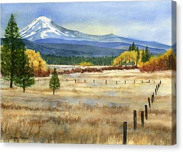 Fence Canvas Print - Mount Adams  by Sharon Freeman