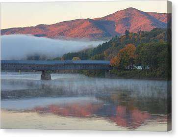 Mount Ascutney And Windsor Cornish Bridge Sunrise Fog Canvas Print by John Burk