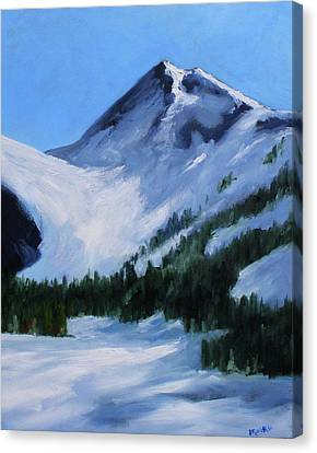 Canvas Print featuring the painting Mount Baker Glacier by Nancy Merkle