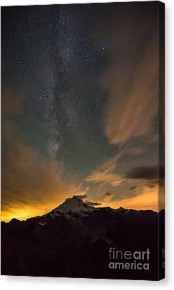 Northwest Canvas Print - Mount Baker Milky Way Around Midnight by Mike Reid