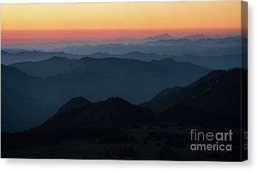 Mount Baker Sunset Landscape Layers Canvas Print by Mike Reid