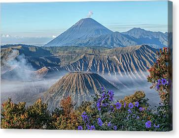 Mount Bromo In Clouds - Java Canvas Print by Joana Kruse