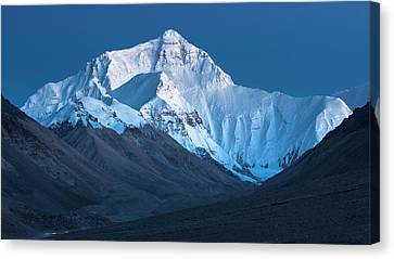 Canvas Print featuring the photograph Mount Everest At Blue Hour, Rongbuk, 2007 by Hitendra SINKAR