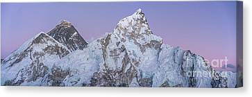 Mount Everest Lhotse And Ama Dablam Just After Sunset Panorama Canvas Print by Mike Reid