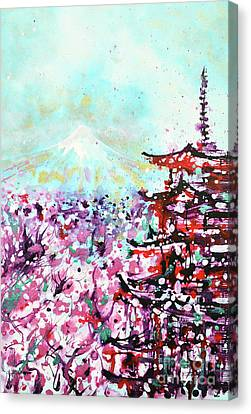 Canvas Print featuring the painting Mount Fuji And The Chureito Pagoda In Spring by Zaira Dzhaubaeva