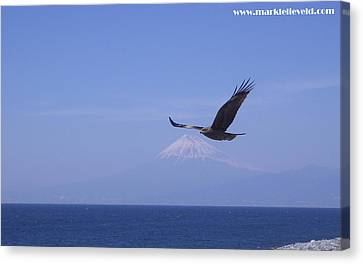 Mount Fuji With Eagle Canvas Print by Mark Lelieveld