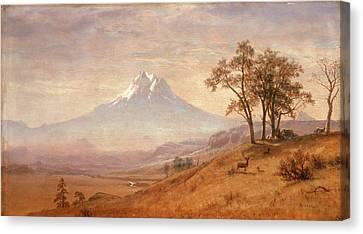 Fog Mist Canvas Print - Mount Hood by Albert Bierstadt