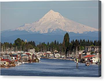 Mount Hood And Columbia River House Boats Canvas Print