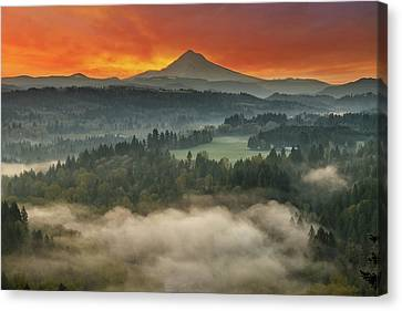 Mount Hood And Sandy River Valley Sunrise Canvas Print by David Gn