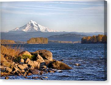 Mount Hood And The Columbia River Canvas Print by Jim Walls PhotoArtist