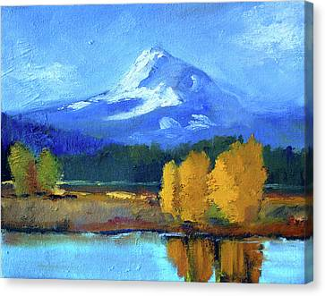 Canvas Print featuring the painting Mount Hood by Nancy Merkle