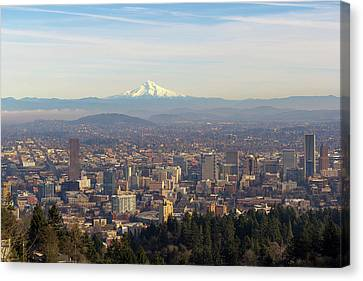 Mount Hood Over City Of Portland Oregon Canvas Print by David Gn