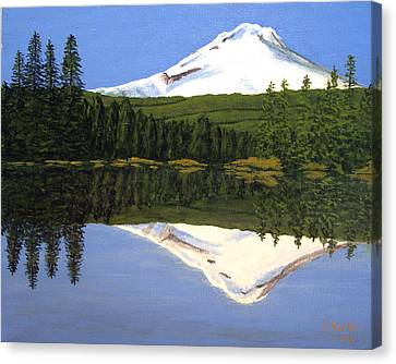 Canvas Print featuring the painting Mount Hood-trillium Lake by Frederic Kohli