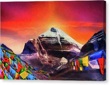 Canvas Print featuring the digital art Mount Kailash - The Pillar Of The World by Serge Averbukh