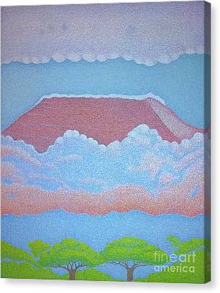 Mount Kilimanjaro Canvas Print by Assumpta Tafari Tafrow Neo-Impressionist Works on Paper