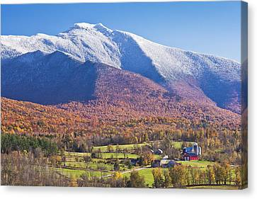 Mount Mansfield Autumn Snowfall Canvas Print by Alan L Graham