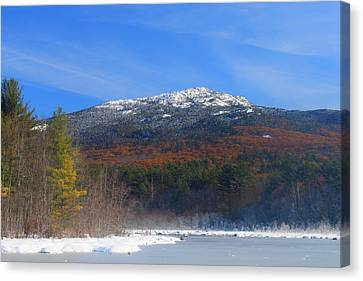 Mount Monadnock Late Foliage And Snow Canvas Print by John Burk