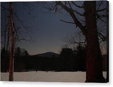 Mount Monadnock Over Moonlit Field Canvas Print by John Burk