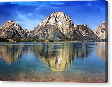 Mount Moran Across The Lake Canvas Print by Marty Koch