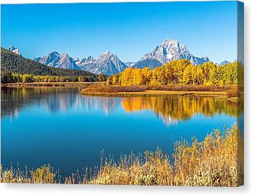 Mount Moran From The Snake River In Autumn Canvas Print by James Udall