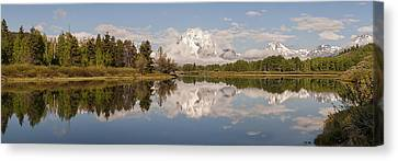 Mount Moran On Oxbow Bend Panorama Canvas Print by Brian Harig