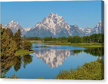 Mount Moran On Snake River Landscape Canvas Print