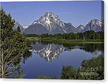Mount Moran Reflections Canvas Print by Tim Moore