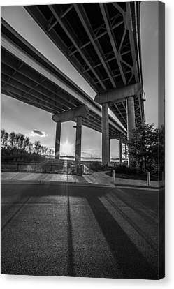 Mount Pleasant Waterfront Park Black And White Canvas Print by Donnie Whitaker