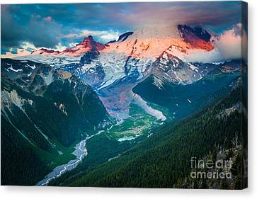 Mount Rainier And White River Canvas Print by Inge Johnsson
