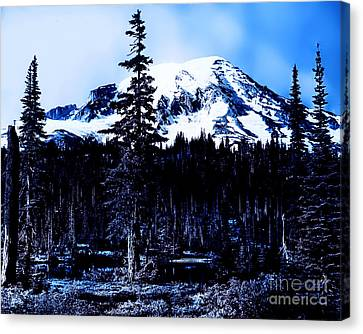 Canvas Print featuring the photograph Mount Rainier Blue... by Eddie Eastwood