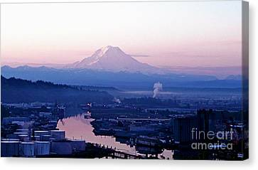 Mount Rainier Dawn Above Port Of Tacoma Canvas Print by Sean Griffin