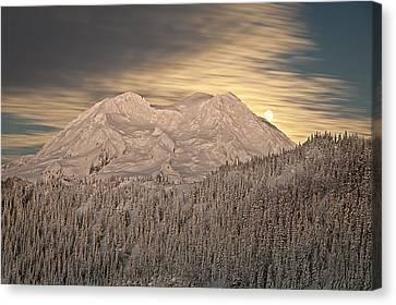 Mount Rainier Full Moonrise Winter Canvas Print by Ed Book